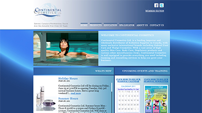 Web Design portfolio item 1: Continental Cosmetics Ltd.